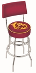 Arizona State University 25'' Chrome Finish Swivel Counter Height Stool with Double Ring Base [L7C425ARIZST-FS-HOB]