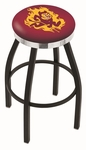 Arizona State University 25'' Black Wrinkle Finish Swivel Backless Counter Height Stool with Chrome Accent Ring [L8B2C25ARIZST-FS-HOB]