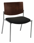 1300 Series Extra Wide Stacking Armless Guest Chair with Chocolate Wood Back - Grade 2 Upholstered Seat [WD1310SL-SP20-GR2-IFK]