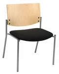 1300 Series Extra Wide Stacking Armless Guest Chair with Natural Wood Back - Grade 3 Upholstered Seat [WD1310SL-SP22-GR3-IFK]