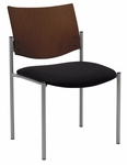 1300 Series Stacking Armless Guest Chair with Chocolate Wood Back - Grade 2 Upholstered Seat [1310SL-SP20-GR2-IFK]