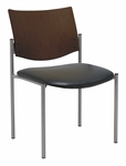 1300 Series Stacking Armless Guest Chair with Chocolate Wood Back -Vinyl Seat [1310SL-SP20-VINYL-IFK]
