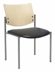 1300 Series Stacking Armless Guest Chair with Natural Wood Back - Vinyl Seat [1310SL-SP22-VINYL-IFK]