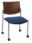 1300 Series Stacking Armless Guest Chair with Chocolate Wood Back and Casters - Grade 2 Upholstered Seat [CS1310SL-SP20-GR2-IFK]