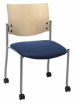 1300 Series Stacking Armless Guest Chair with Natural Wood Back and Casters - Grade 2 Upholstered Seat [CS1310SL-SP22-GR2-IFK]