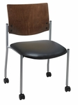 1300 Series Stacking Armless Guest Chair with Chocolate Wood Back and Casters - Vinyl Seat [CS1310SL-SP20-VINYL-IFK]