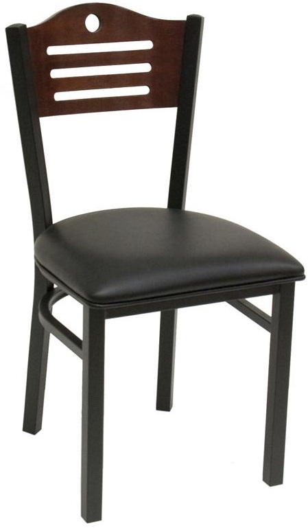 Armless Half Wood Back Dining Chair With Slotted Accents Black Vinyl Seat