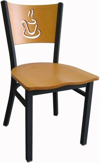 Wood Back With Cup Cutout Armless Metal Dining Chair Natural Finish 72 VS
