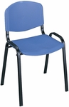 21.25'' W x 17.75'' D x 30.5'' H Contour Designed Armless Stack Chairs - Set of Four - Blue with Black Base [4185BU-SAF]