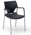 Arriva Four Leg Stacking Chair with Black Fixed Arms - Black Plastic and Silver Grey Frame [AV-4-PLBL-50BL-SG-FS-ADI]