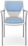 Arriva Four Leg Stacking Chair with Cushion Back and Seat - White Plastic Shell [AV-4-CPS-CPB-PLWH-FS-ADI]