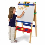 Kids Wooden Adjustable Artist Easel with Paper Roll Dispenser -Natural [62028-FS-KK]
