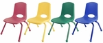 Set of Six 10''H Vented Back Stacking Chairs with Matching Legs and Ball Glides - Assorted Colors [ELR-15140-AS-ECR]