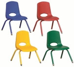 Set of Six 10''H Vented Back Matching Leg and Seat Stacking Chairs with Nylon Swivel Guides - Assorted Colors [ELR-15140-ASG-ECR]