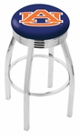 Auburn University 25'' Chrome Finish Swivel Backless Counter Height Stool with 2.5'' Ribbed Accent Ring [L8C3C25AUBURN-FS-HOB]