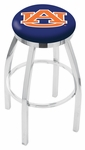 Auburn University 25'' Chrome Finish Swivel Backless Counter Height Stool with Accent Ring [L8C2C25AUBURN-FS-HOB]