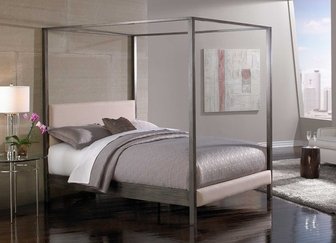avalon contemporary four poster canopy metal bed - california king