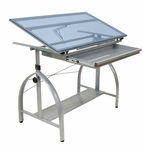 Avanta Blue Tempered Glass and Steel Height Adjustable Drafting Table with Adjustable Angle Top - Silver [10060-FS-SDI]