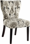 Ave Six Andrew Armless Fabric Chair with Solid Wood Legs - Medallion Ikat Grey [AND-M15-FS-OS]