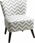 Ave Six Apollo Armless Fabric Chair with Wood Legs - Zig Zag Grey [APL-Z13-FS-OS]