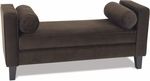 Ave Six Curves Velvet Upholstered Bench with Bolsters and Espresso Finish Legs - Chocolate [CVS20-C12-FS-OS]