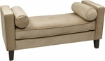 Ave Six Curves Velvet Upholstered Bench with Bolsters and Espresso Finish Legs - Coffee [CVS20-C27-FS-OS]