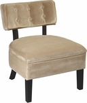 Ave Six Curves Velvet Button Armless Accent Chair with Solid Wood Legs - Coffee [CVS263-C27-FS-OS]