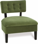 Ave Six Curves Velvet Button Armless Accent Chair with Solid Wood Legs - Spring Green [CVS263-G28-FS-OS]