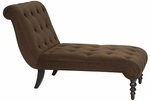 Ave Six Curves Tufted Upholstered Velvet Chaise Lounge with Solid Wood Legs - Chocolate [CVS72-C12-FS-OS]