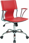 Ave Six Dorado Contour Seat and Back Vinyl Office Chair with Heavy Duty Chrome Base - Red [DOR26-RD-FS-OS]