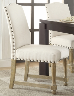 Ave Six Kingman Fabric Dining Chair with Antique Bronze Nailheads