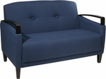 Ave Six Main Street Loveseat with Espresso Finish Legs and Curved Arms - Indigo [MST52-W17-FS-OS]