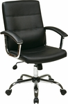 Ave Six Malta Faux Leather Office Chair with Padded Chrome Armrests and Adjustable Seat Height - Black [MAL26-BK-FS-OS]
