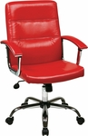 Ave Six Malta Faux Leather Office Chair with Padded Chrome Armrests and Adjustable Seat Height - Red [MAL26-RD-FS-OS]