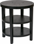 Ave Six Merge 20'' Round End Table with Solid Wood Legs - Black [MRG09-BK-FS-OS]