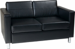 Ave Six Pacific Faux Leather Loveseat with Chrome Finish Legs - Black [PAC52-V18-FS-OS]