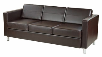 Ave Six Pacific Faux Leather Sofa With Chrome Finish Legs Espresso Pac53 V34 By Office Star