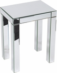 Ave Six Reflections Glass Finish Accent Table with Slide Out Drawer and Crystal Knob - Silver [REF17-SLV-FS-OS]