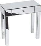Ave Six Reflections Glass Foyer Table with Slide Out Drawer and Crystal Knob - Silver [REF07-SLV-FS-OS]