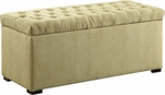Ave Six Sahara Tufted Fabric Storage Bench with Solid Wood Legs - Shultz Basil [SAH3917-S37-FS-OS]