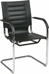 Ave Six Trinidad Vinyl Guest Chair with Chrome Base and Casters - Black [TND945A-BK-FS-OS]