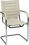 Ave Six Trinidad Vinyl Guest Chair with Chrome Base and Casters - Cream [TND945A-CRM-FS-OS]
