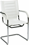 Ave Six Trinidad Vinyl Guest Chair with Chrome Base and Casters - White [TND945A-WH-FS-OS]