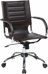 Ave Six Trinidad Vinyl Contoured Seat Office Chair with Chrome Base and Casters - Espresso [TND941A-ES-FS-OS]
