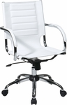 Ave Six Trinidad Vinyl Contoured Seat Office Chair with Chrome Base and Casters - White [TND941A-WH-FS-OS]