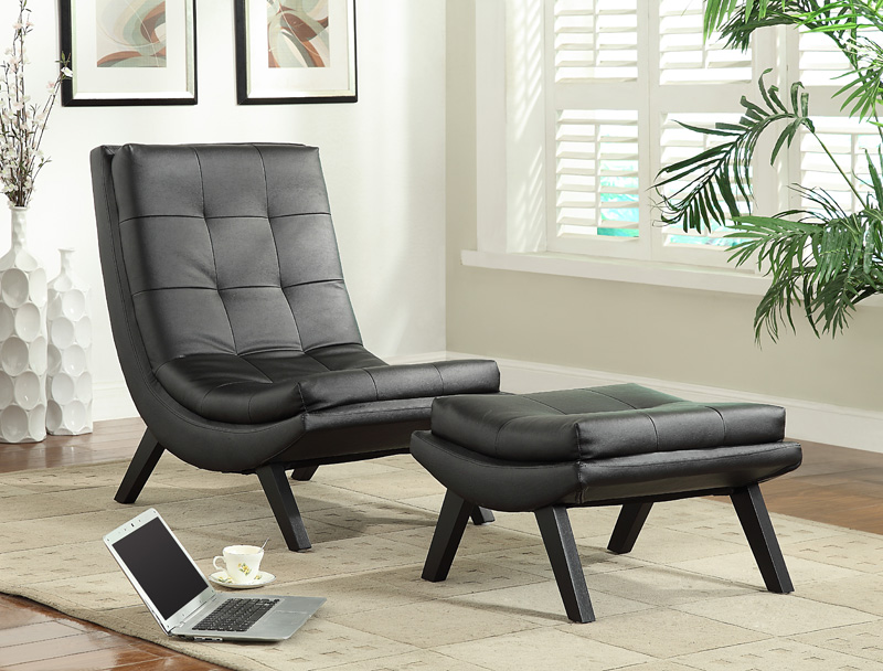 ave six tustin modern faux leather lounge chair and ottoman set black tsn51b18 by office star products bizchaircom - Leather Lounge Chair