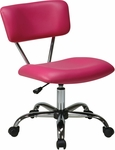 Ave Six Vista Vinyl Task Chair with Chrome Finish Base and Casters - Pink [ST181-V355-FS-OS]