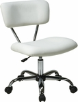 Ave Six Vista Vinyl Task Chair with Chrome Finish Base and Casters - White [ST181-V11-FS-OS]