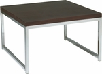 Ave Six Wall Street Wood Veneer Top Accent Table with Chrome Finished Steel Base - Espresso [WST17-FS-OS]