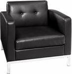 Ave Six Wall Street Faux Leather Arm Chair with Chrome Base and Legs - Black [WST51A-B18-FS-OS]